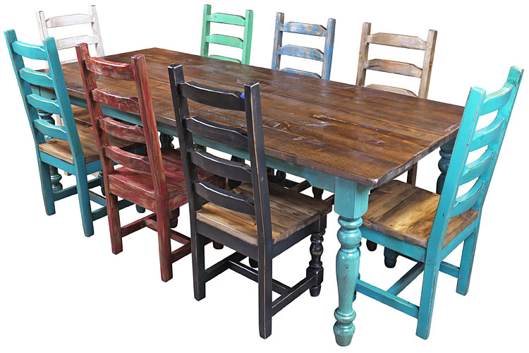 Mexican Colonial Turquoise Painted Wood Dining Table 8 Ft