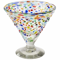 Mexican Confetti Pebbled Short Martini Glass - Set of 4