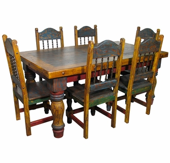 Attirant Mexican Country Style Painted Wood Dining Set