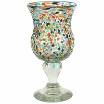 Mexican Pebbled Confetti Curvy Mexican Water Goblets - Set of 4