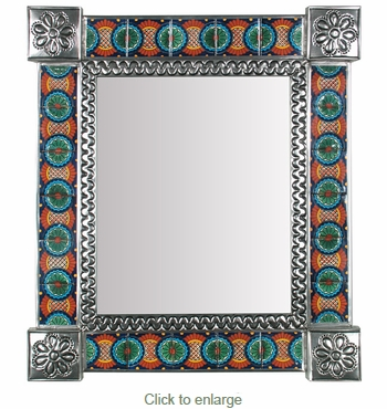 Mexican Decorative Tin Wall Mirror with Talavera Tile Insets - 15