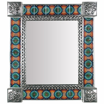 "Mexican Decorative Tin Wall Mirror with Talavera Tile Insets - 15"" x 17"""