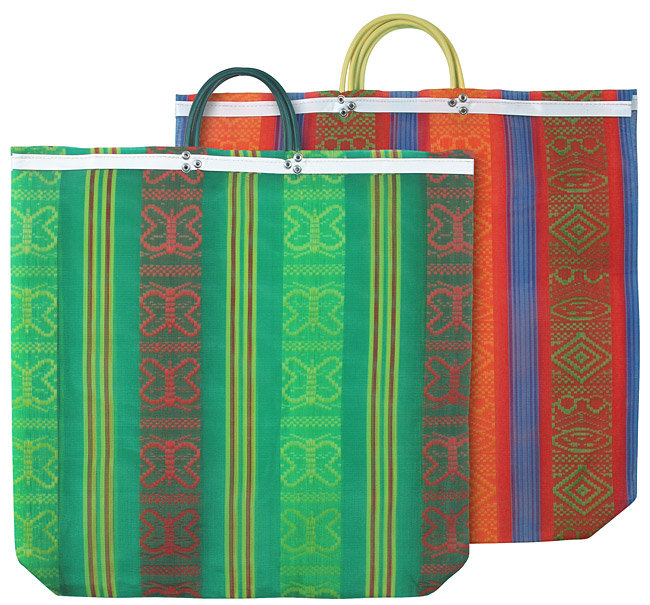 Assorted Large Fancy Weave Mexican Beach Bags - 2 Bags