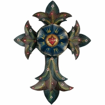 Mexican Fleur de Lis Painted Tin Cross