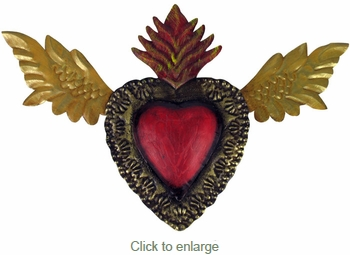 Mexican Flying Heart Decoration - Painted Tin Folkart