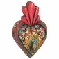 Mexican Folk Art Carved Painted Wood Fiery Heart with Milagros
