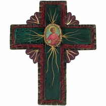 Mexican Folk Art Painted Tin Cross