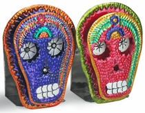 Mexican Folk Art Painted Tin Skull Candle Sconce - Set of 2