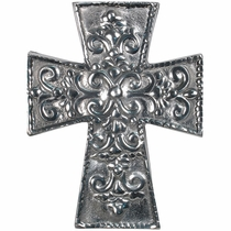 Mexican Folk Art Pewter Floral Cross