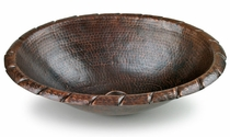 Mexican Hammered Copper Sink - Rope Design