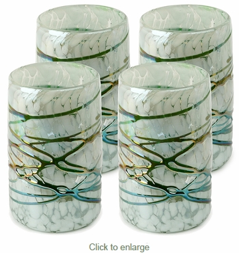 Mexican Hand Blown Glass Tumblers - Green-White Confetti With Raised Web  - Set of 4