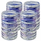 Mexican Hand Blown Webbed Tumblers - Blue-White Confetti With Raised Web  - Set of 4