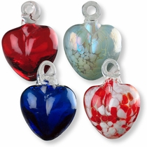 Mexican Handblown Glass Heart Ornaments - Set of 2