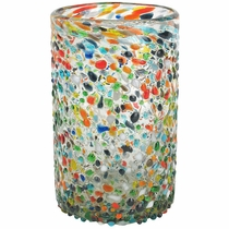Hand Blown Mexican Water Glass Pebbled Confetti - Set of 4