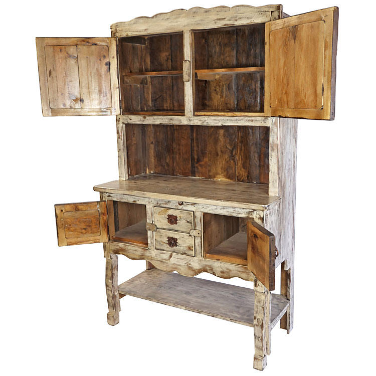 Mexican Kitchen Hutch - White Washed Painted Wood