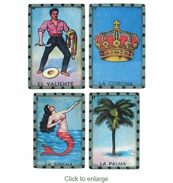 Mexican Loteria Cards Refrigerator Magnets - Set of 4