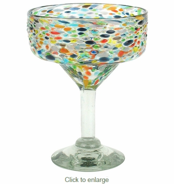 Mexican Margarita Glasses with Pebbled Confetti  - Set of 4