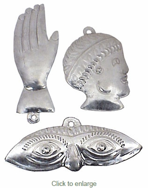 Mexican Natural Tin Milagro Ornaments - Per Doz