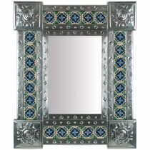 "Mexican Natural Tin & Tile Mirror - 20"" x 24"""