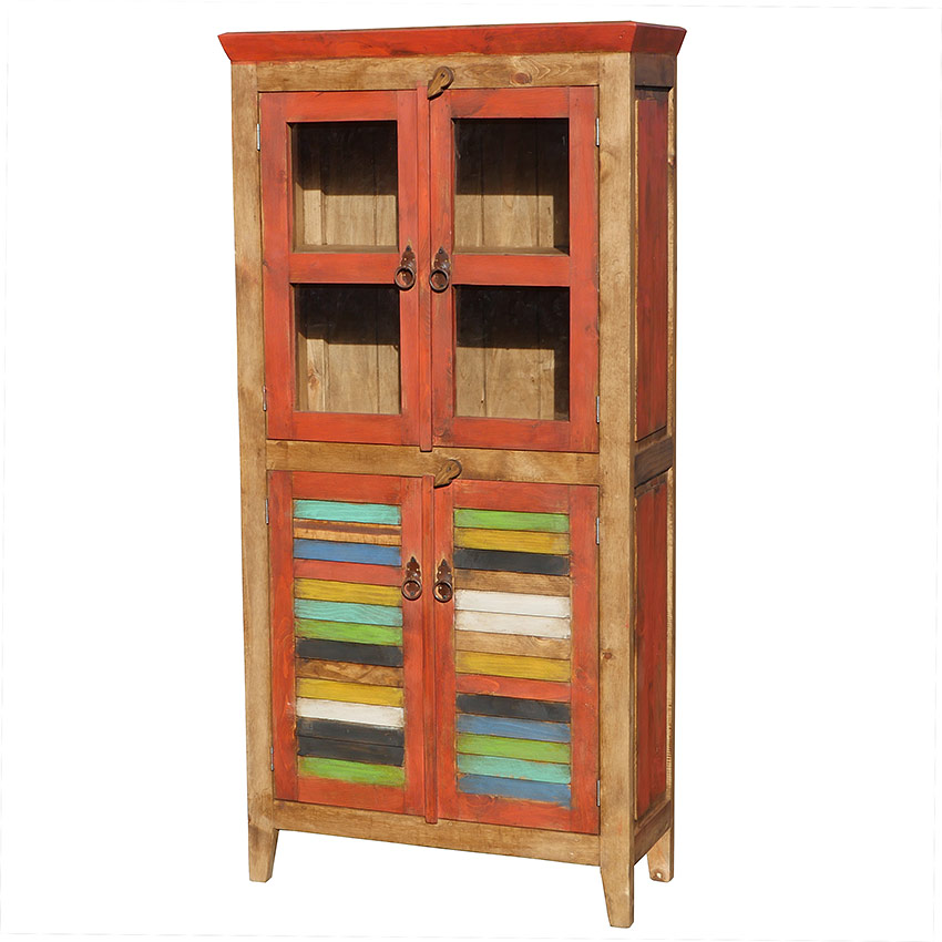 Mexican Painted Cabinet With Colorful Slat Doors And Gl