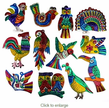 Mexican Painted Tin Bird Ornaments - Per Dozen