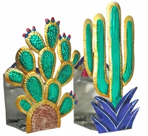 Mexican Painted Tin Cactus Candle Sconces - Set of 2