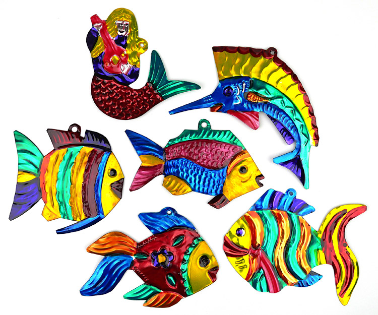 - Mexican Painted Tin Fish & Mermaid Ornaments - Set Of 6