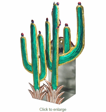 Mexican Painted Tin Saguaro Candle Sconce - Mexican Tin Folk Art