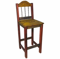 Mexican Painted Wood Bar Stool