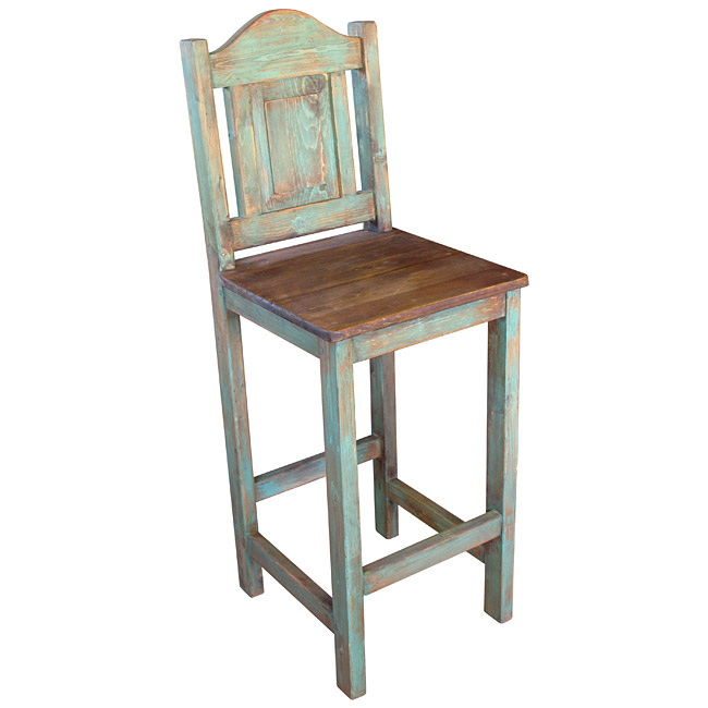 Mexican Painted Wood Bar Stool with Metal Panel on Back