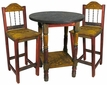 Mexican Painted Wood Bar Table Set with 4 Stools