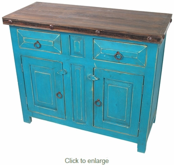 Mexican Painted Wood Buffet Cabinet - Turquoise with Iron Accents