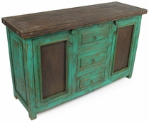 Mexican Painted Wood Buffet with Iron Door Panels - Green