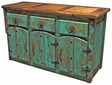 Mexican Painted Wood Buffet with Thick Doors