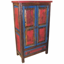 Mexican Painted Wood Cabinet With Shelves