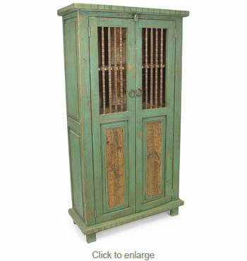 Mexican Painted Wood Pantry Cabinet With Spindle Doors Green