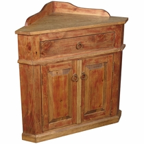 Mexican Painted Wood Corner Cabinet