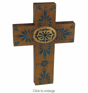 Mexican Painted Wood Cross with Oval Tin