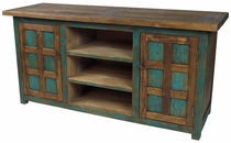 Mexican Painted Wood Entertainment Console with Doors and Shelves
