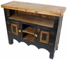 Mexican Painted Wood Entertainment Credenza - Natural and Black