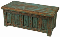 Mexican Painted Wood Etched Storage Trunk