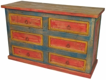 Mexican Painted Wood Multi-Color Dresser - Six Drawer