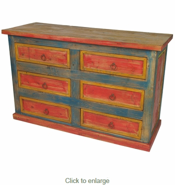 Multi Color Six Drawer Dresser Mexican Painted Wood