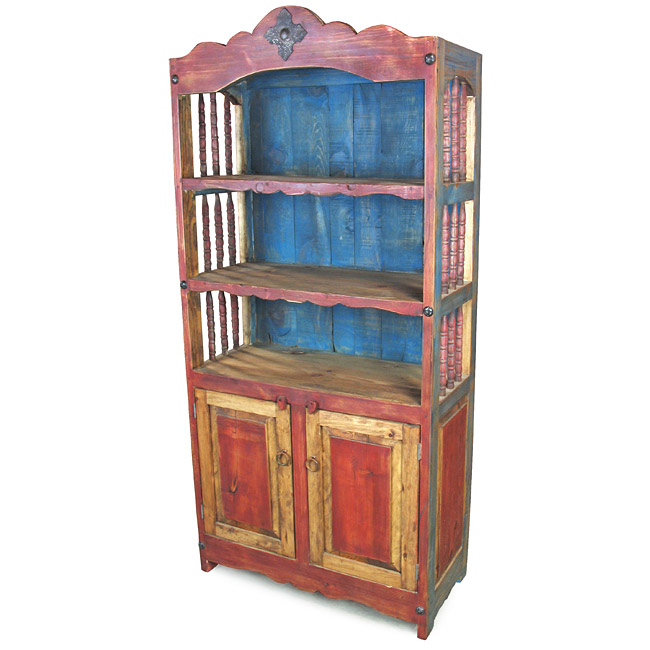 mexican painted furnitureMexican Painted Wood Open Hutch with Spindle Sides