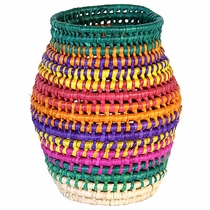 Mexican Palm Basket Vase
