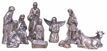 Mexican Pewter Nativity Scene 11-Piece Set