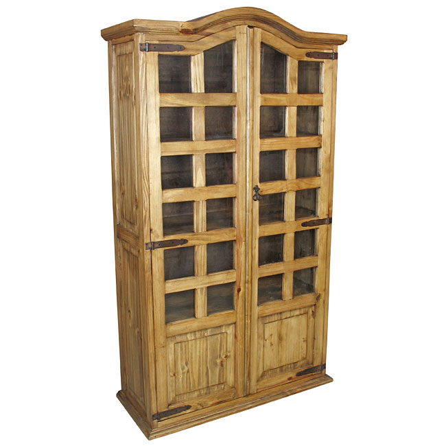 Mexican Pine Bookcase Cabinet 2 Door