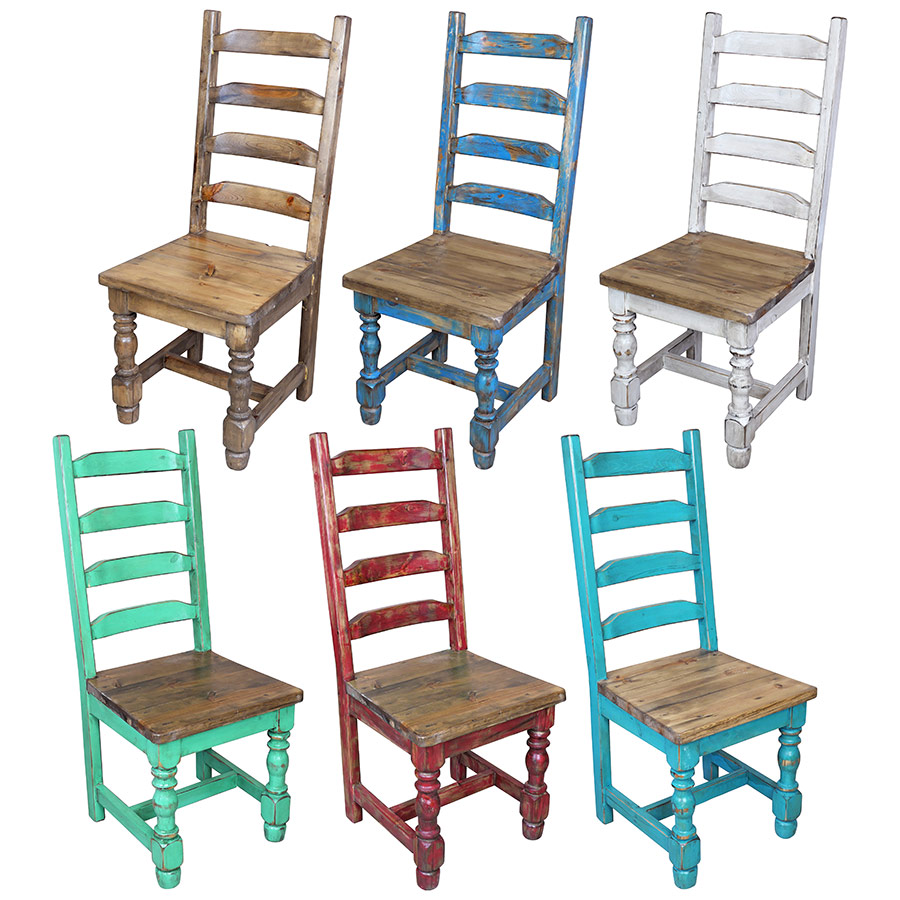 Stupendous Mexican Pine Painted Wood Ladder Back Dining Chair 7 Colors Home Interior And Landscaping Oversignezvosmurscom