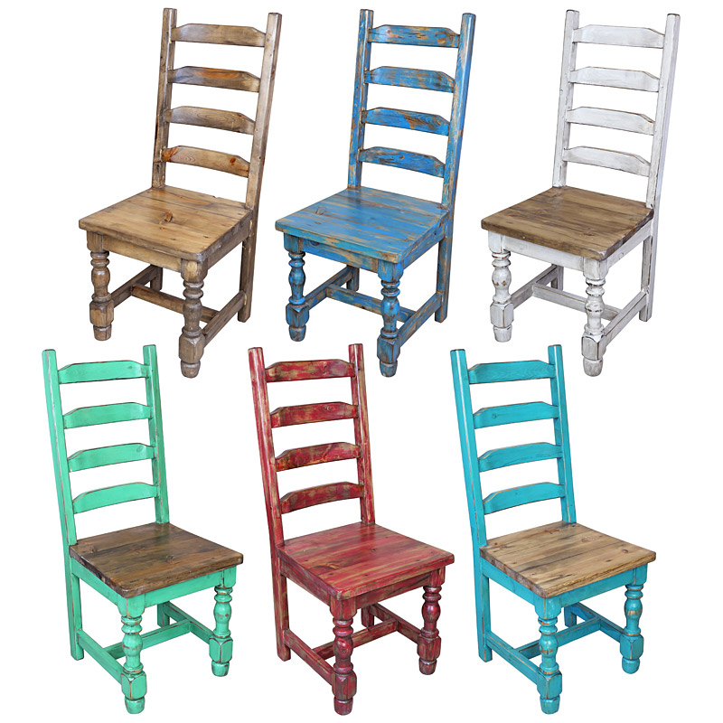 Painted Wooden Chairs mexican pine painted wood ladder back dining chair - 7 colors