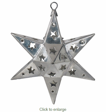 Mexican Punched Tin Half Star Ornaments - Set of 2